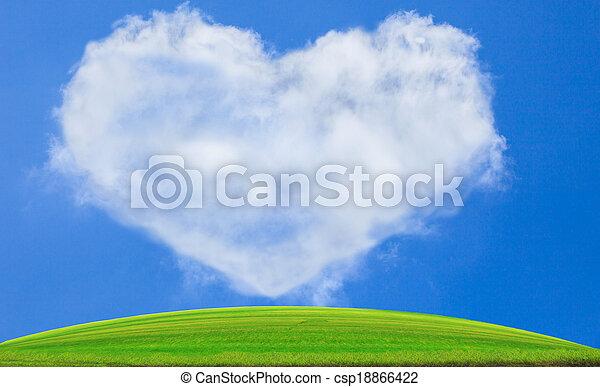 green grass field against blue sky - csp18866422