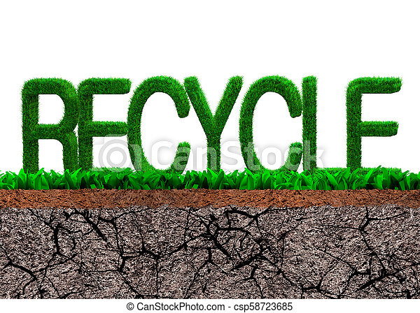 Green Grass In Recycle Word Shape