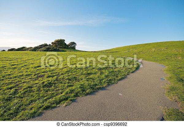 Green Grass Landscape and blue sky California - csp9396692