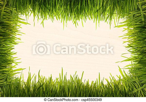 green grass on a beige wooden texture - csp45500349