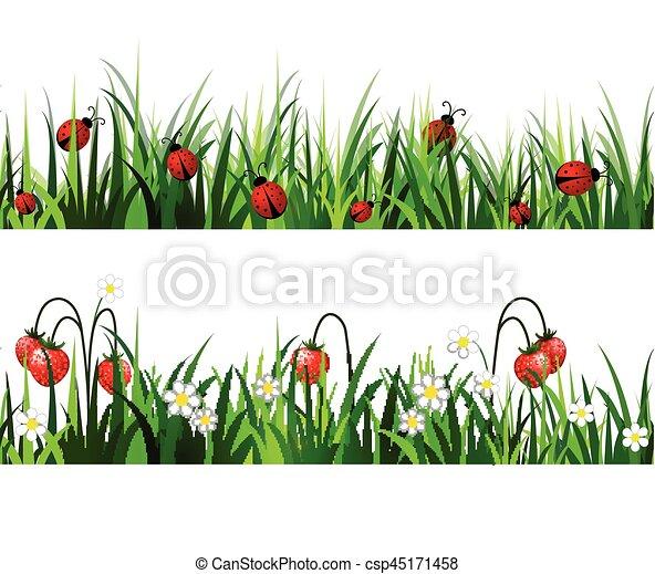 Green Grass seamless set - csp45171458