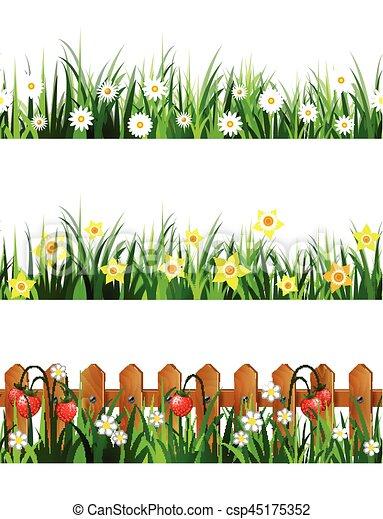 Green Grass seamless set - csp45175352