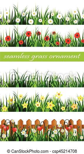 Green Grass seamless set - csp45214708