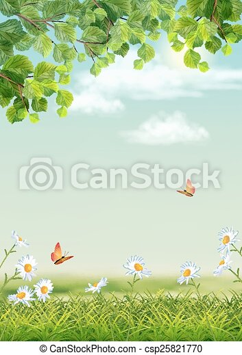 Green Grass Tree Branch Butterfly Background - csp25821770