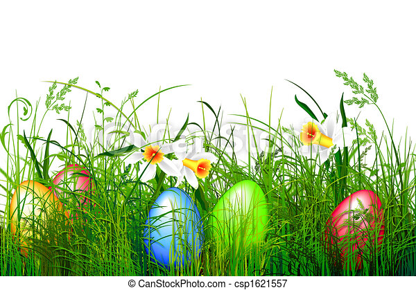 Green Grass With Easter Eggs Stock Illustration