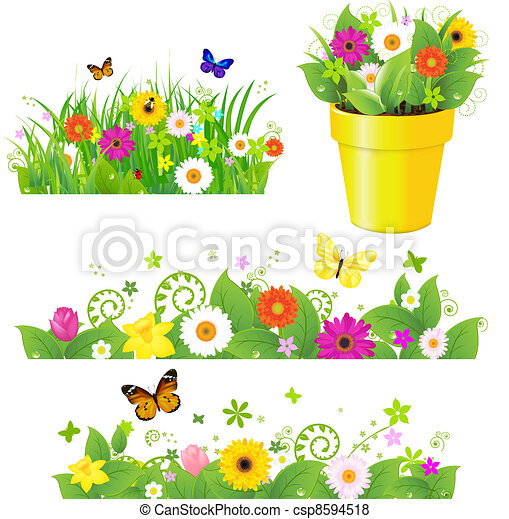 Green Grass With Flowers Set - csp8594518