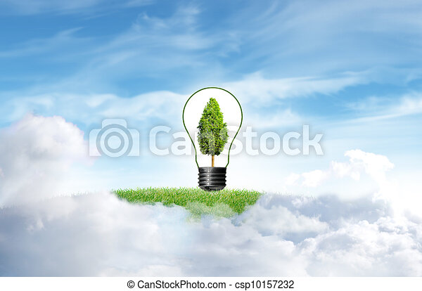 Green grass with tree and cloud sky background - csp10157232