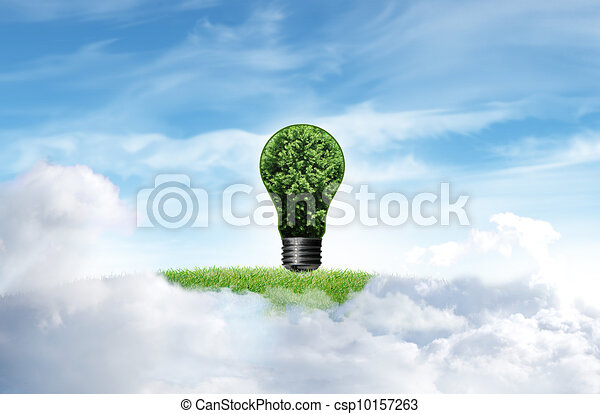 Green grass with tree and cloud sky background - csp10157263