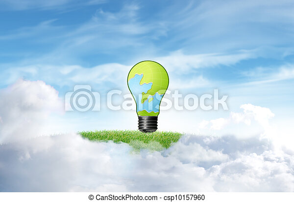 Green grass with tree and cloud sky background - csp10157960