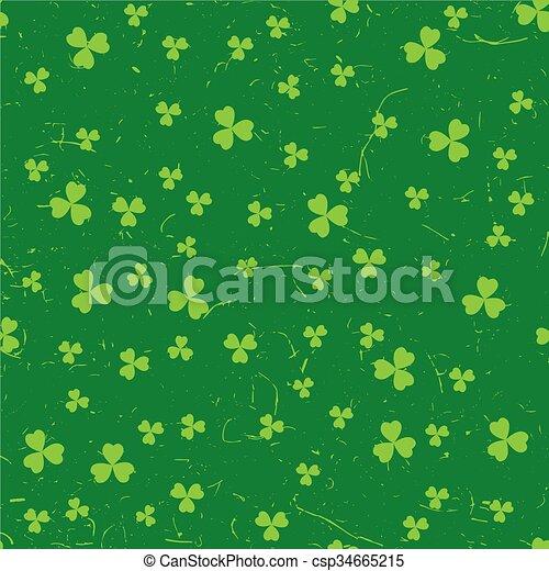 Green grunge clover backgrounds - csp34665215