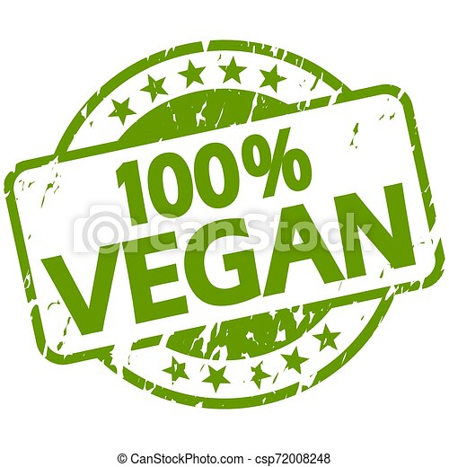 green grunge stamp with Banner 100% vegan - csp72008248