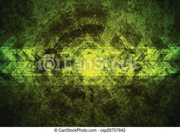 Green grunge tech geometric background - csp26707642