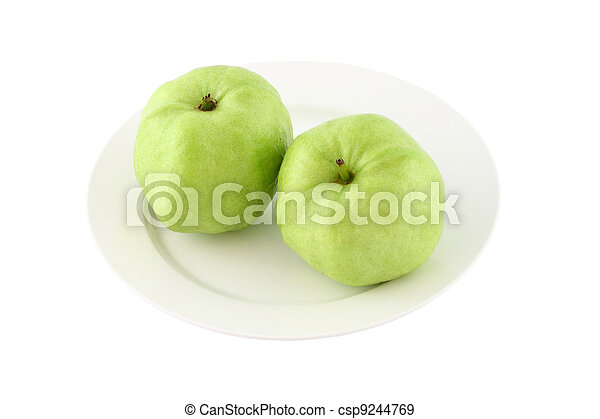 Green guava dish on white background. - csp9244769