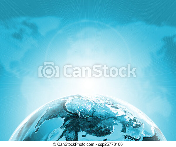 Green half earth globe with continents, transparent  World map on dark  background