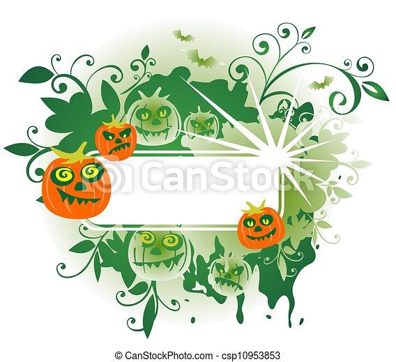 green halloween frame - csp10953853