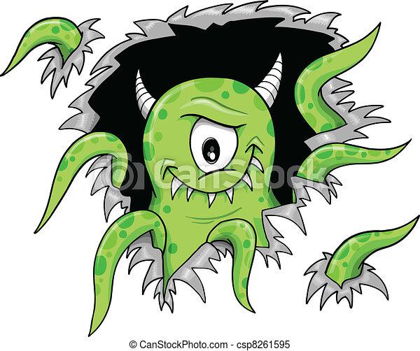 Green halloween monster vector illustration clipart vector ...