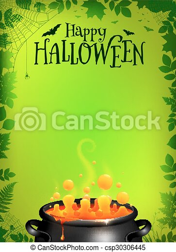 Green Halloween poster template with orange potion in black cauldron - csp30306445