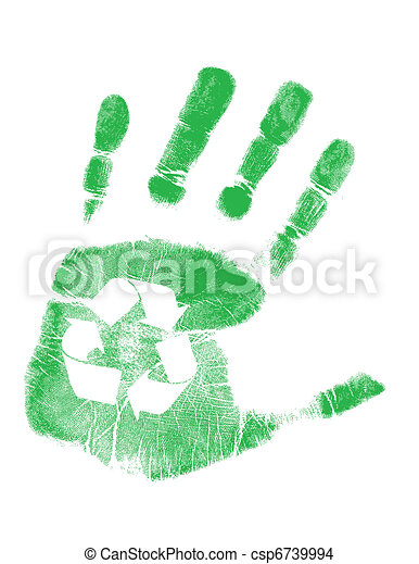green handprint with recycling - csp6739994