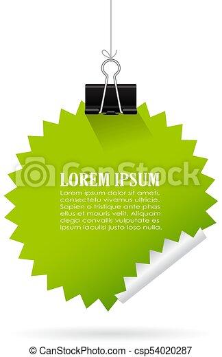Green hanging note paper - csp54020287