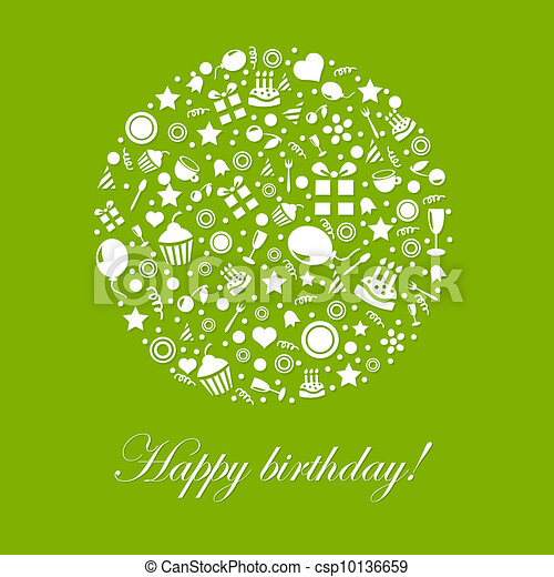 Clipart Vector of Green Happy Birthday Card Isolated On White – Birthday Cards Images and Graphics