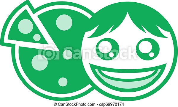 green happy face and pizza symbol - csp69978174
