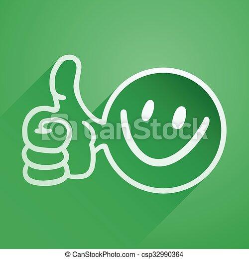 green happy icon - csp32990364