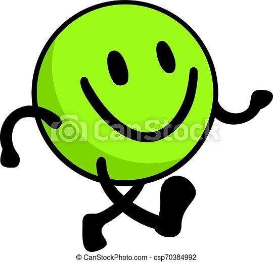 green happy walking face - csp70384992