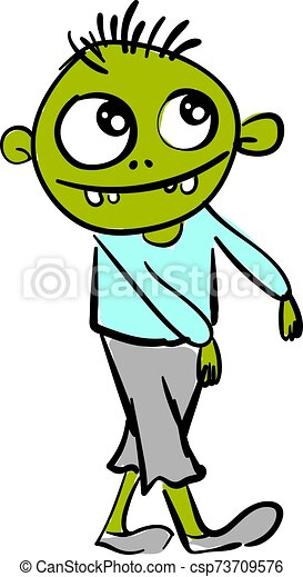 Green happy zombie, illustration, vector on white background. - csp73709576
