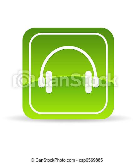 Green headphones Icon - csp6569885