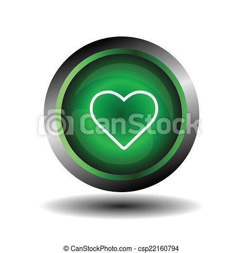 Green Heart Button - csp22160794