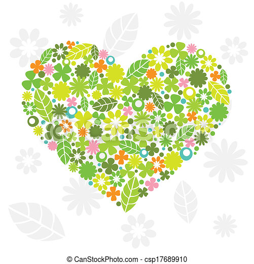 Green Heart Made of Flowers - csp17689910