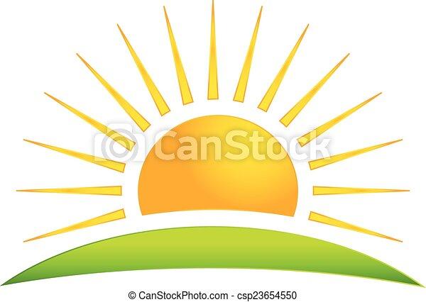 Green hill with sun logo vector icon - csp23654550