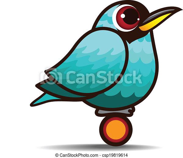 Green Honeycreeper bird cartoon - csp19819614