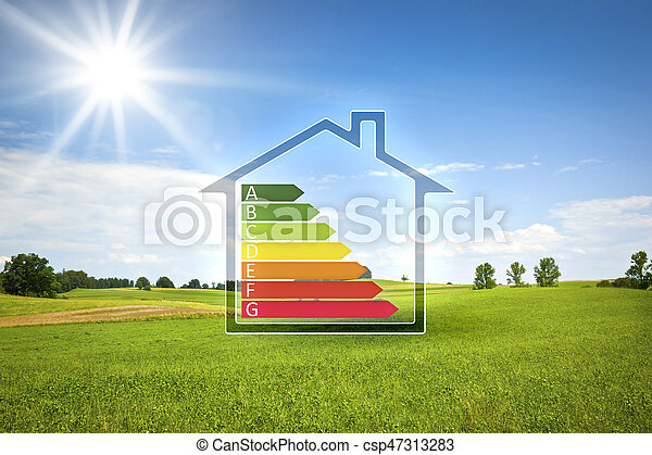 green house in the sun with energy efficiency graph - csp47313283