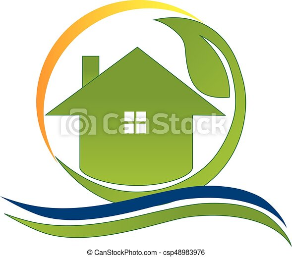 Green house real estate logo - csp48983976