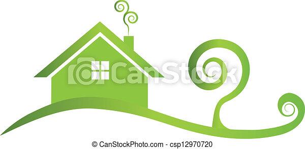 Green house swirly logo - csp12970720