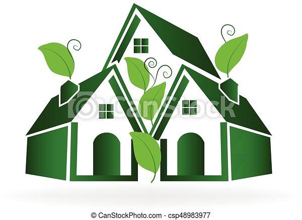 Green houses logo vector - csp48983977