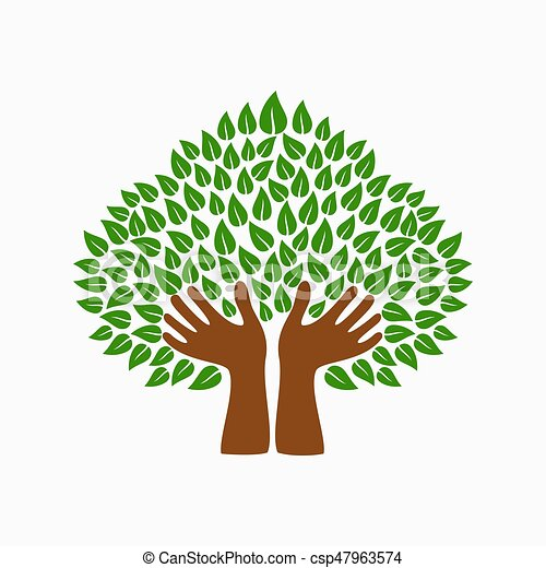 Green human hand tree symbol for community help - csp47963574