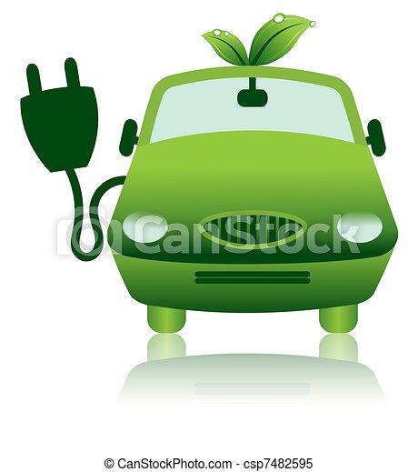 Green Hybrid Electric Car Icon - csp7482595