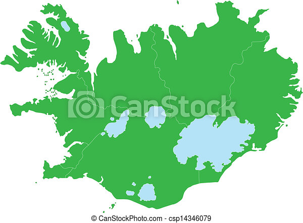 Green iceland map. Map of administrative divisions of republic of ...