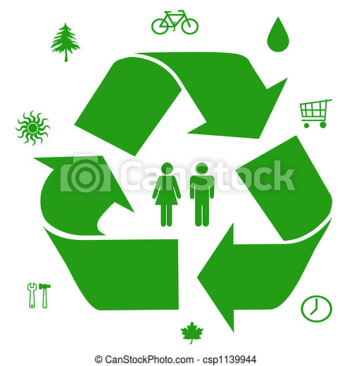 Green Ideas Go Green Symbols Ways To Save Our Resources Illustration