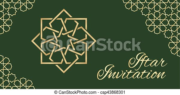 Green iftar invitation invitation card with islamic ornament green iftar invitation csp43868301 stopboris Image collections