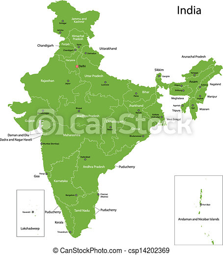 Green India Map India Map With States And Capital Cities