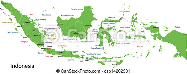 Green indonesia map indonesia map with provinces and capital cities green indonesia map csp14202301 freerunsca Gallery