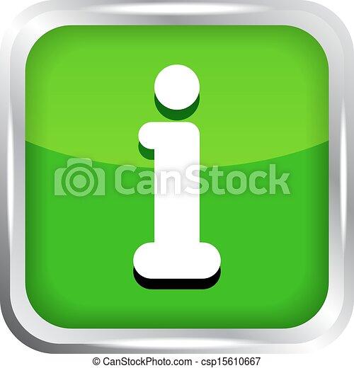 green info icon button on a white - csp15610667
