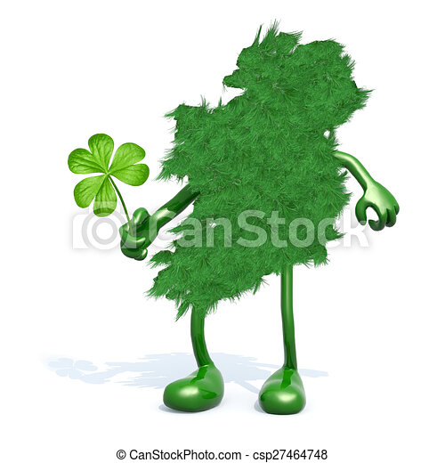 Green Ireland And Shamrock Three Leaf Ireland Map Made Of Green