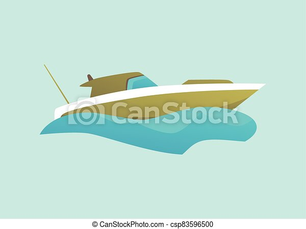 Green isolated motorboat riding blue water wave, modern speed boat - csp83596500