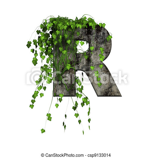 Green ivy on 3d stone letter r drawing search clip art green ivy on 3d stone letter r csp9133014 thecheapjerseys Images