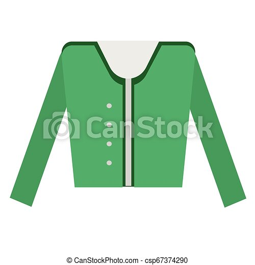 Green jacket flat illustration on white - csp67374290