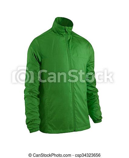 green jacket isolated on white - csp34323656